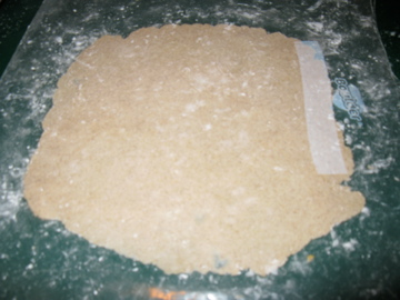a tortilla all rolled out and waiting for the griddle--I'm not too concerned with a perfect circle :)