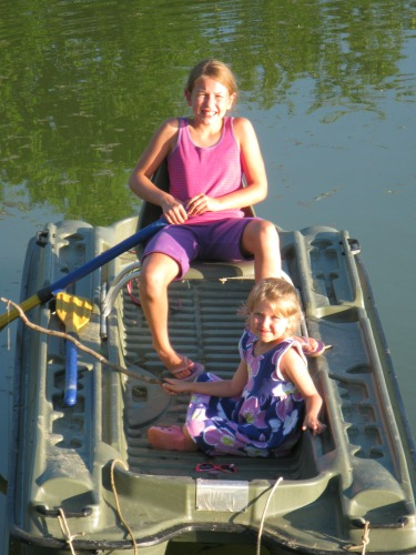 abby and ella on boat